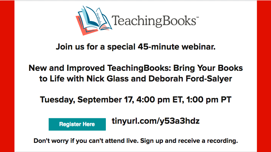 test Twitter Media - Special event webinar, tomorrow (Tuesday) afternoon.   New and Improved TeachingBooks! Bring Your Books to Life  Join us, or register and receive a recording.   Sept 18, 4:00 ET, 1:00 PT. https://t.co/jIFJiZvhYi @libdeborahford @TeachingBooks https://t.co/kkswo2zrJ8