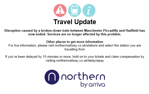 TRAVEL UPDATE: Disruption caused by a broken down train between #ManchesterPiccadilly and #Hadfield has now ended https://t.co/S2aZPuDE4P