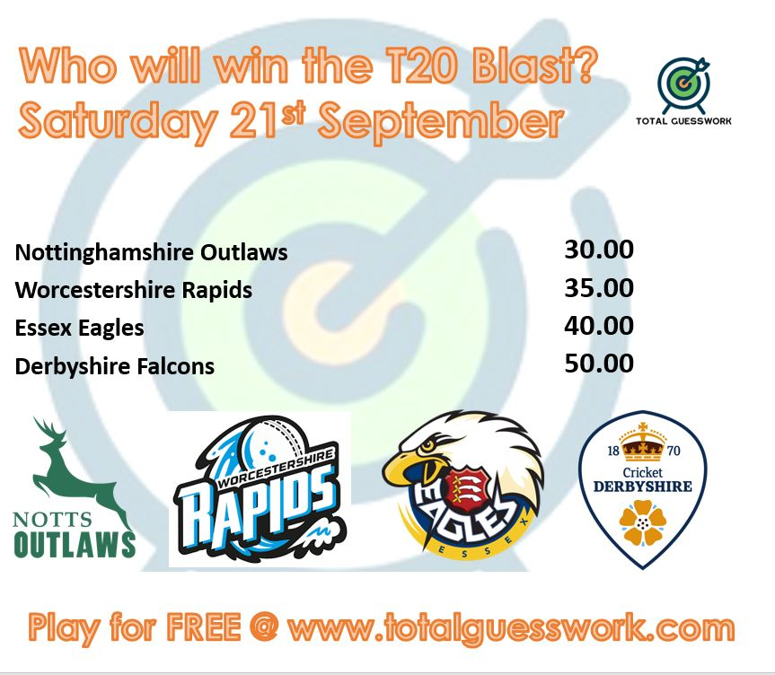 Total Guesswork On Twitter Question Announcement It S The Last Cricket Themed Question For The While As Summer Comes To A Close Who Will Win The T20 Blast Play For Free Https T Co E944nc4z35