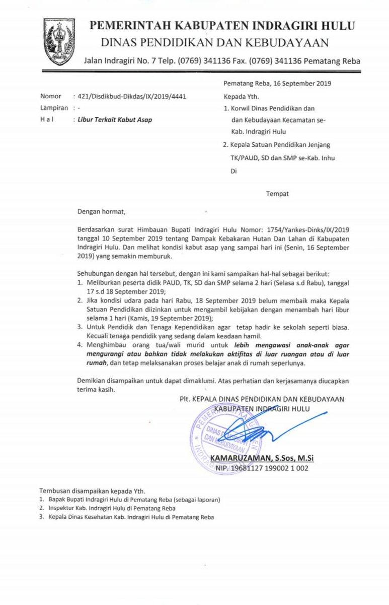 Surat Dinas Pendidikan Dan Kebudayaan Pemerintah Kabupaten