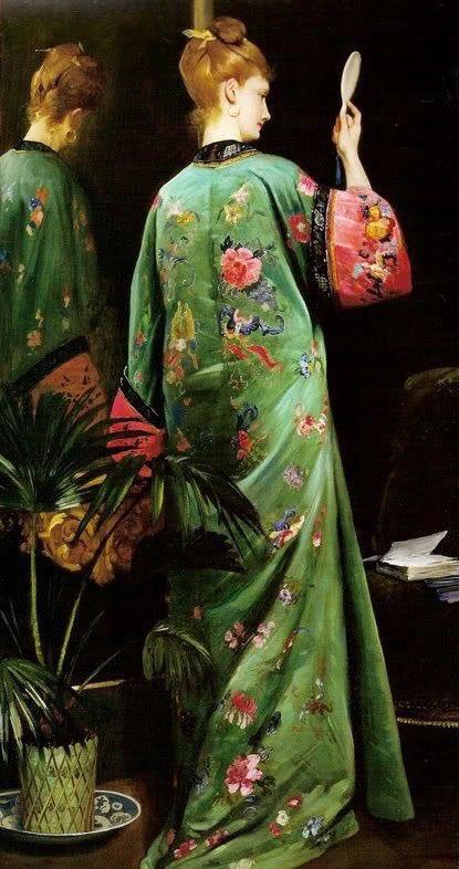 絵画の中の着物パリジェンヌたちは着物をガウンを纏うように緩やかに着こなしている。本来厳しい着こなしのルールが存在する着物だが、彼女たちにそんなことは関係ないようだ。もちろん伝統的な日本の着物を否定するものではないが、時には着物を自由にアレンジして身に纏ってみるのもまた粋だろう
