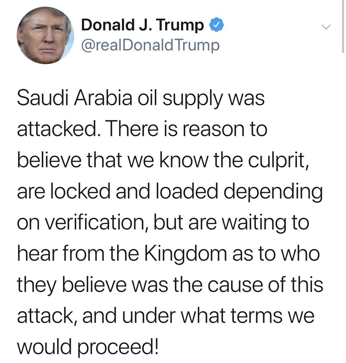 """Wait a minute . . . Trump is """"locked and loaded"""" and waiting to hear from the Kingdom"""" to be told """"under what terms to proceed""""? So now America is taking orders from Saudi Arabia AS WELL AS Russia/Putin. Hard to keep track . . . https://t.co/CFjBpy8C87"""