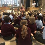 The children are captivated at the cathedral