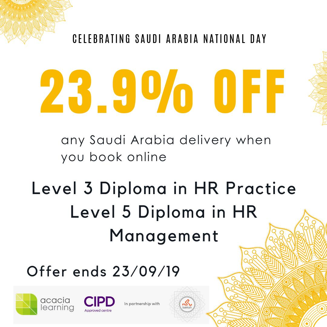 With Saudi Arabias National Day coming up, were giving you this unforgettable offer - get 23.9% off any Saudi Arabia Delivery #CIPD courses. Yes, 23.9% off - its not a typo! Enjoy this crazy discount. ow.ly/rkth50w5vXE
