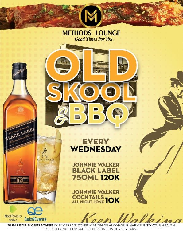 Every Wednesday... At Methods Lounge Ntinda !! Johnnie Walker Cocktails at 10k‍‍ 750ml Black Label at 120k... #quizandevents , NXT Radio UG, Johnniewalker  Tell a friend to tell a friend <br>http://pic.twitter.com/JXsjCslxh4