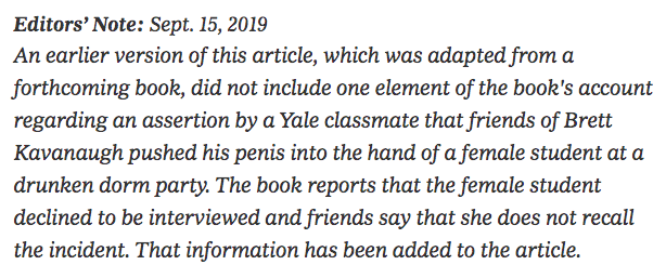 For those of you who choose not to read the NYT Kavanaugh hit piece, here is the new editor's note: https://t.co/Tliceq25RV https://t.co/a1CRFQjmM6