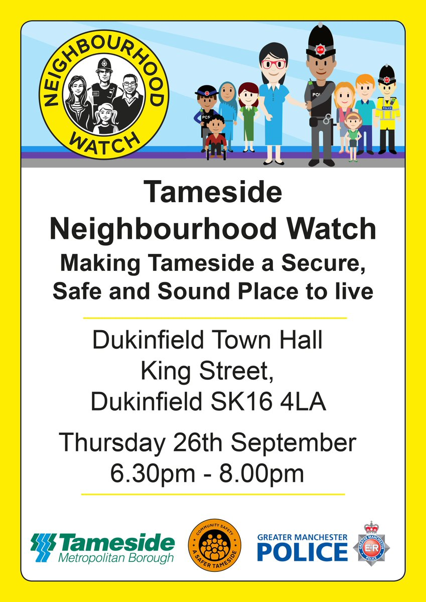 Do you want to make Tameside a secure, safe and sound place to live? Join us on Thursday 26th September to find out about the Tameside Neighbourhood Watch family and how you can get involved #tameside #neighbourhoodwatch #safetameside