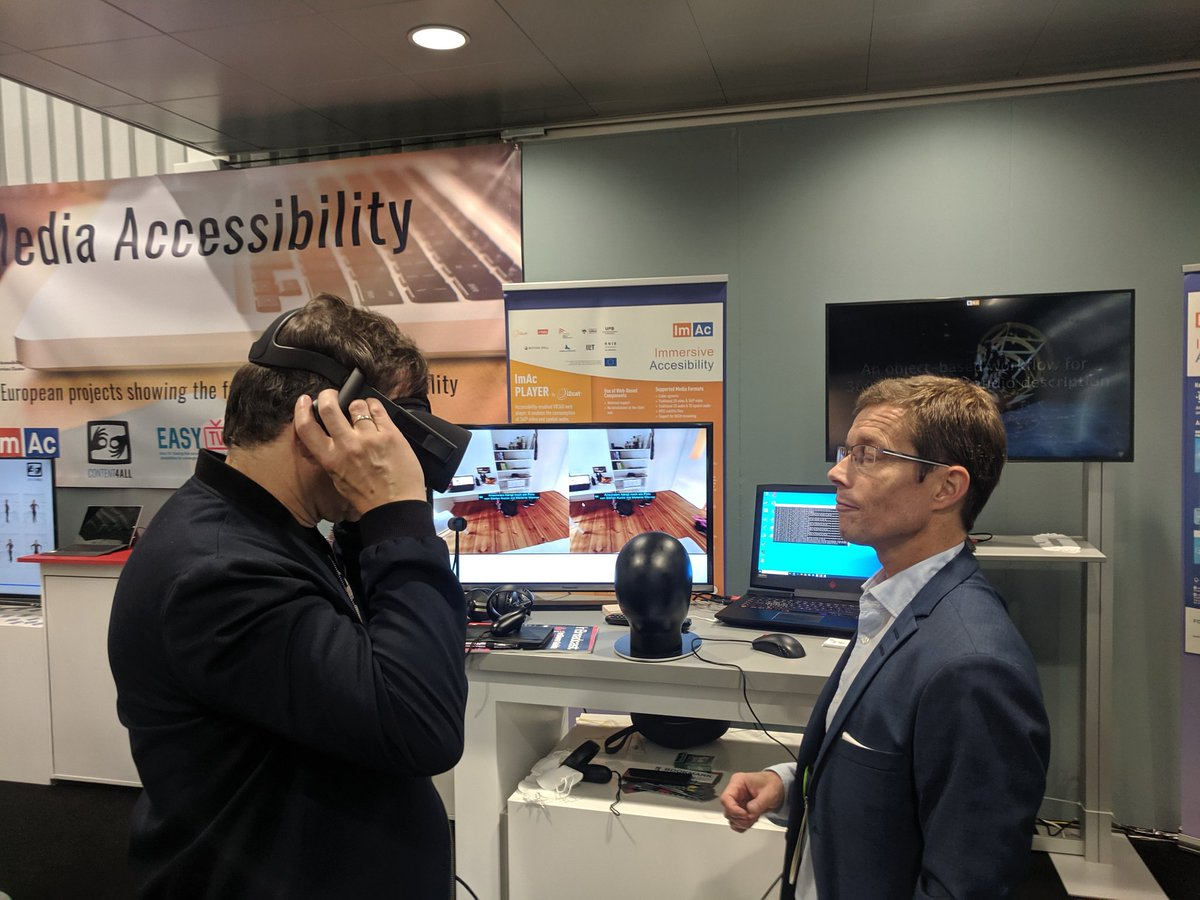 There are many exciting exhibitions in #FutureZone! We are particularly moved by projects such as @ImAcProject, #EasyTV and @Content4All_prj which make content, even #VR (on browsers!), truly #accessible! We hope these #H2020 projects will shape new standards! #IBC2019 #OpenTech