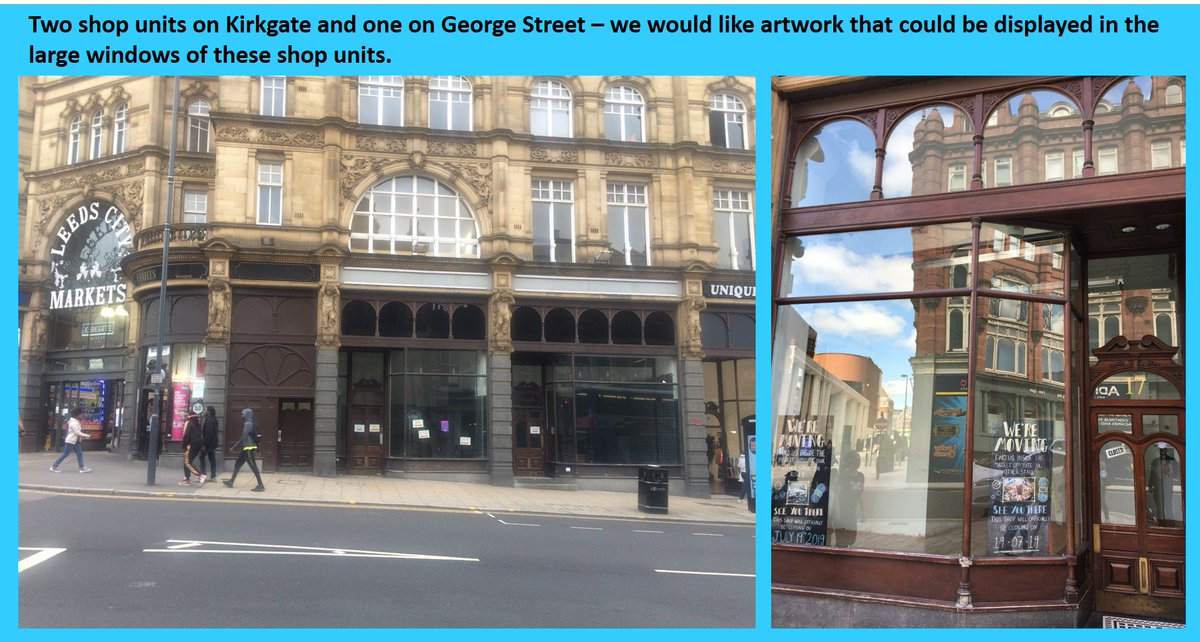 📢Calling local artists📢 We have three shop units on Kirkgate that we would like to display artwork in. Do you have any work that you think would look good here? Email city.centre.management@leeds.gov.uk for the briefing pack.