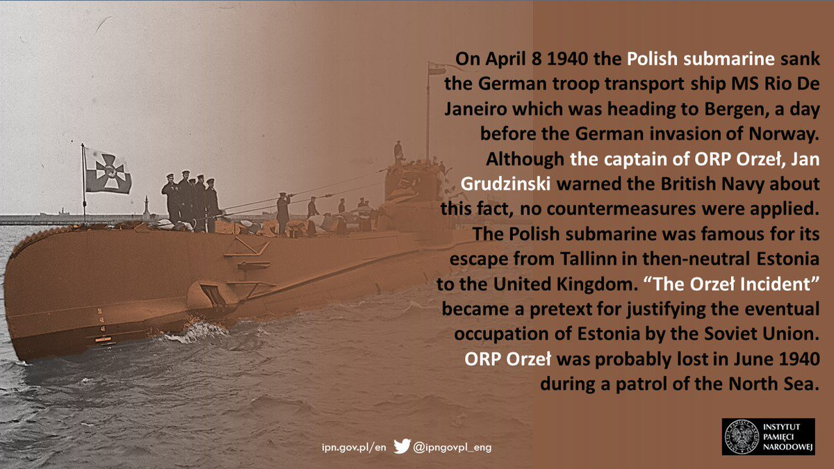 On 1⃣6⃣ September 1⃣9⃣3⃣9⃣🗓, the crew of #ORPOrzel commanded by Lt. Jan #Grudziński, the Polish submarine interned in neutral #Estonia, decided to flee from harbour in #Tallin. The successful escape was carried out on 1⃣8⃣ September and after a month the boat reached #Scotland.