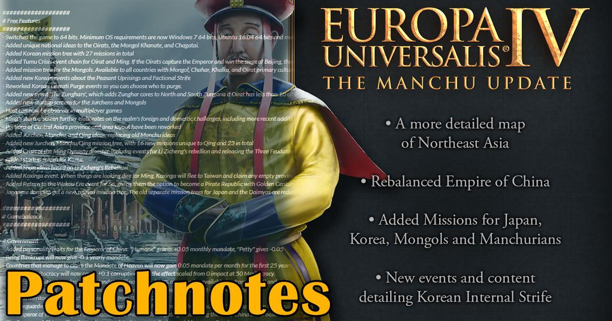 New Dev Diary   Today we bring you the patchnotes for the 1.29 Manchu free update, which is being released tomorrow!   Get all the details here:  https:// pdxint.at/2minqpd    <br>http://pic.twitter.com/pk5pnJ6YNV