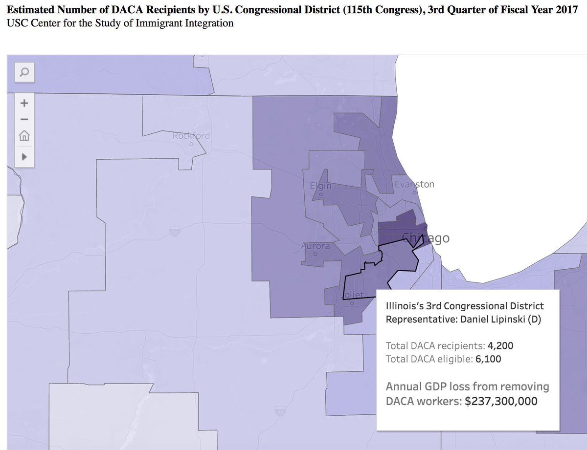 Protecting DACA recipients, re-authorizing DAPA, and updating the DREAM Act  #IL03 has one of the highest concentrations of DACA recipients. By deporting DACA recipients, in effect removing them from the economy, GDP here will take a loss of approximately $237,300,000. (3/8) <br>http://pic.twitter.com/tzAYXcA2wl