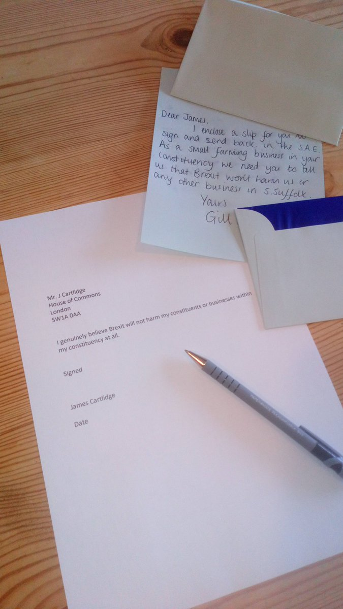 You have a Leave MP? Why not print off a note saying 'I genuinely believe Brexit will not harm my constituents, or businesses within my constituency at all' Ask them to sign it, date it and return to you in a SAE. See how you go on! #RevokeA50 <br>http://pic.twitter.com/swOZOfLieG