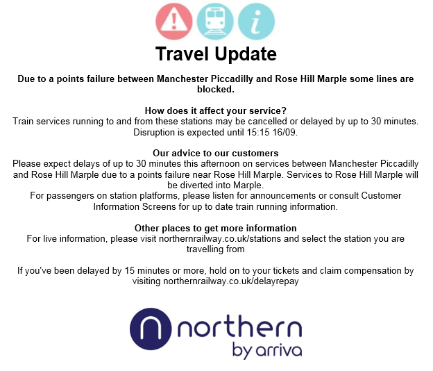 TRAVEL UPDATE: Due to a points failure between #ManchesterPiccadilly and #RoseHillMarple some lines are blocked. https://t.co/oW5O03trW1