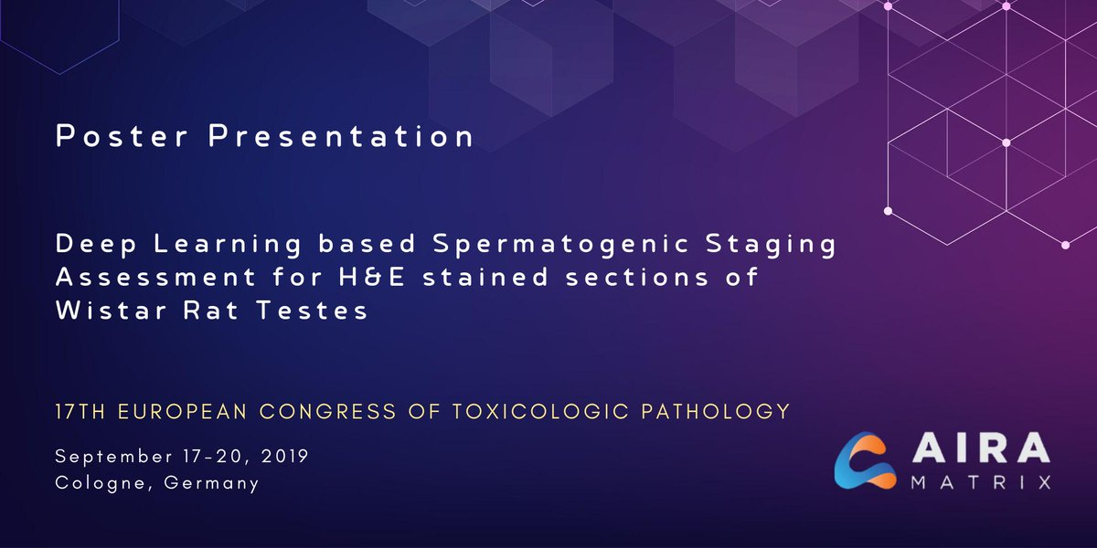 test Twitter Media - @airamatrix will be exhibiting at #ESTP2019 @Cologne, Germany, 17-20 September. We also present a #poster #presentation on applying #DeepLearning to #automate complex & time consuming  #SpermatogenicStaging by #Histopathology to detect #toxicology effects on #malereproductivity. https://t.co/iMvEI07QyA