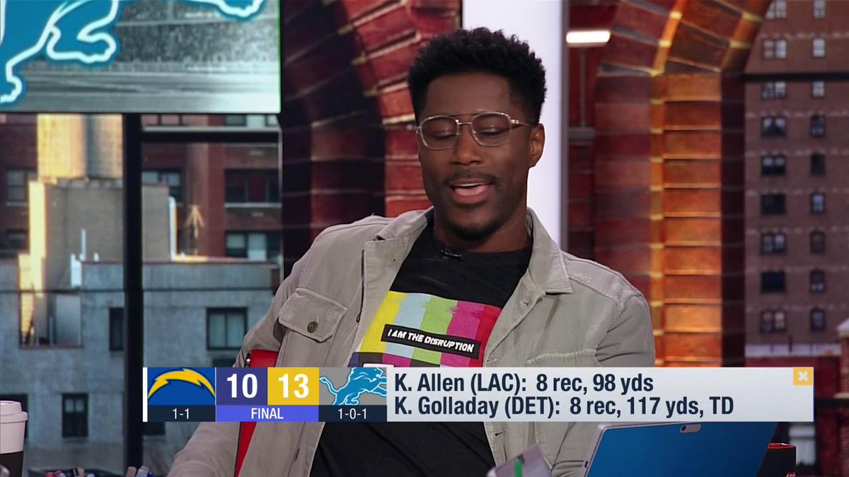 """""""I feel like my guy Matt Stafford found his new favorite target and that's *insert Nate's singing voice* Golladay. I guarantee we will see more from @kgxix."""" --@nateburleson #OnePride https://t.co/Ono3Ep5G3a"""