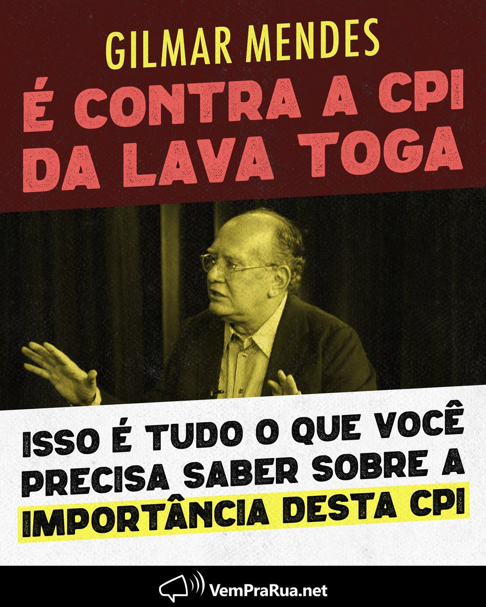 RT @celso_sp: Gilmar Mendes é contra a CPI da Lava Toga. E você?  #LavaTogaSim 🇧🇷 https://t.co/HoSO5cHFln