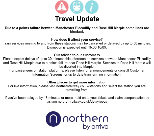 TRAVEL UPDATE: Due to a points failure between #ManchesterPiccadilly and #RoseHillMarple some lines are blocked. https://t.co/q028MWC2j1