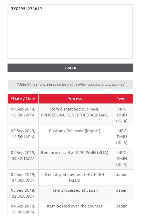 Mohd Affandi Ismail على تويتر Rx039542736jp Pakej Dari Jepun Date Time 09 Sep 2019 12 58 12pm Process Item Dispatched Out Mail Processing Center Kota Bharu