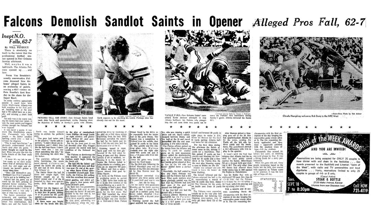 """On this date in 1973, the Falcons beat the Saints 62-7 in the opening game of the season.Saints coach John North after his head coaching debut: """"You guys had better talk to the players.  I didn't throw six interceptions and I didn't fumble the ball four times."""""""