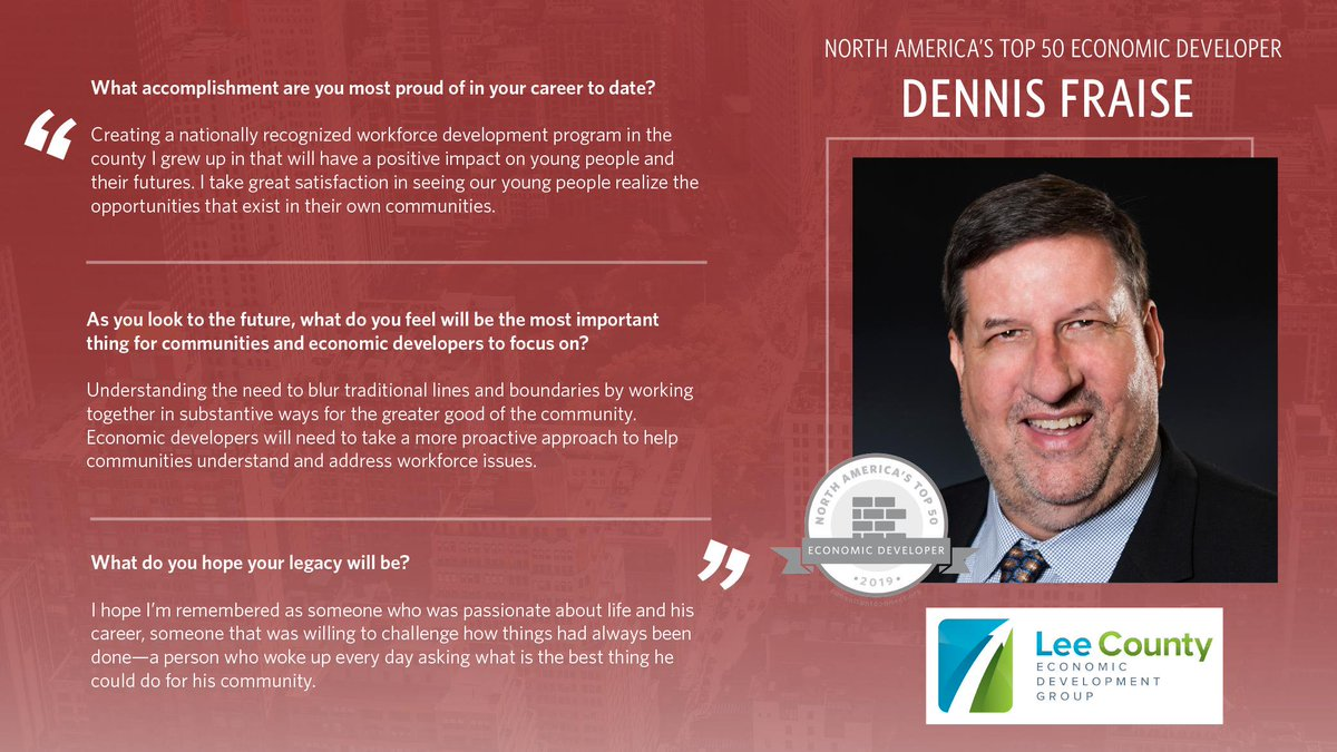 Congratulations to our own Dennis Fraise for making the top 50 Economic Developers in North America from Consultant Connect! #EDLeaders #ecodev @Consultant_CNCT #Top50    https:// conta.cc/2AmPco5     <br>http://pic.twitter.com/bgjUbWnioF