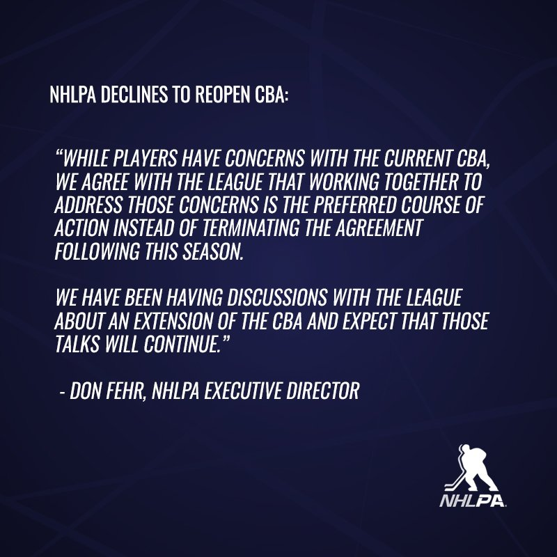 The NHLPA announced today that the Executive Board has declined to reopen the CBA with the NHL following the 2019-20 season. The current CBA remains in effect through the 2021-22 season. The NHLPA advised the League of its decision earlier today.
