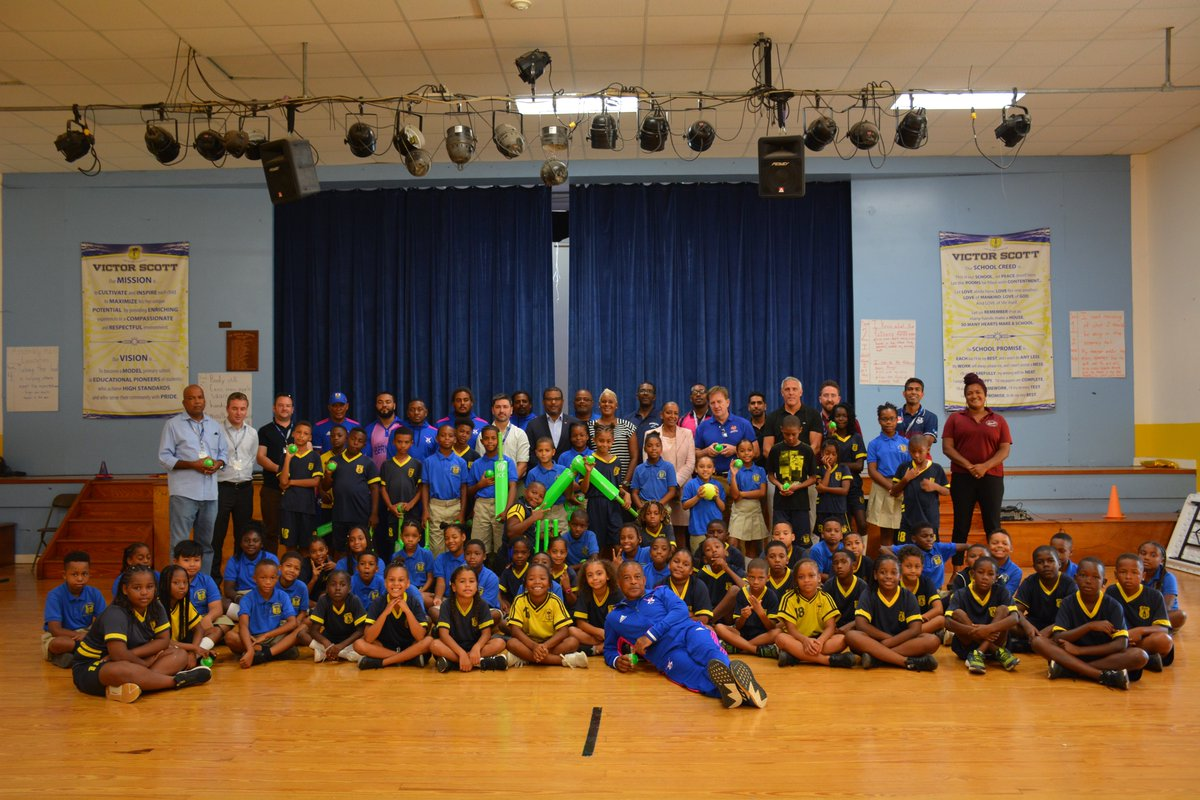 The @ICC is in Bermuda this week, & we took them to Victor Scott Primary to deliver special CRIIIO Cricket sets to the students.We were joined by our National Team, Minister Foggo & Minister Rabain.Where should we visit next?#BermudaCricketBoard #Bermuda #CRIIIO #Education
