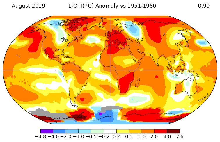 NASA: August was the 2nd warmest on record, globally: +0.90°C above its 1951-1980 average, behind 2016, and just above 2017. August was extremely mild on W-Antarctica, and very warm in Mexico, Europe, S-Africa, and N-Siberia. Cool in NW-Russia and parts of the Antarctic.