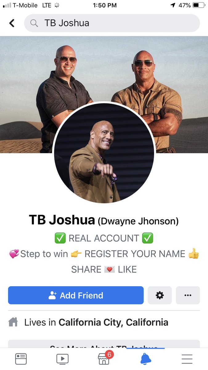@TheRock there's an acvount on FB impersonating you and running a scam telling people you are giving away cars,houses and money.