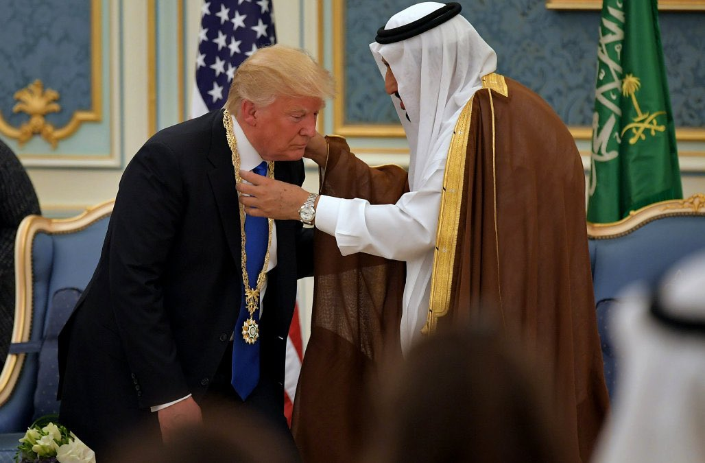 TRUMP: America First!  SAUDI ARABIA: We'll buy $110 billion in weapons and patronize your hotels   TRUMP: <br>http://pic.twitter.com/RajvouYy4j