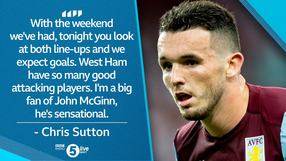 Will @jmcginn7 have a big impact on this game?@chris_sutton73 is a fan!@AVFCOfficial v @WestHamListen on @BBCSounds👇📻📱http://bbc.in/2AhzsDX#bbcfootball #AVLWHU