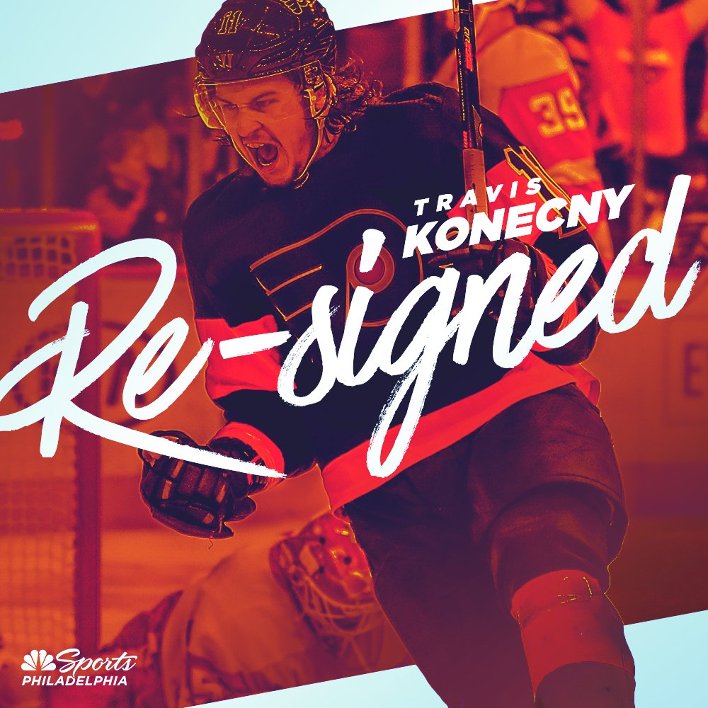 SIX MORE YEARS OF TK!  Travis Konecny has agreed to terms on a six year contract with an AAV of $5.5 million.<br>http://pic.twitter.com/hQ8tP6W1mU