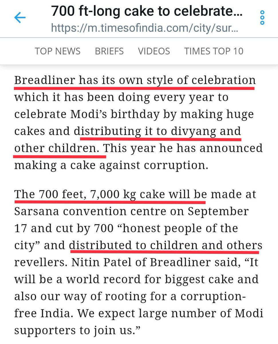 700 ft-long cake is made by Surat based bakery owner & will be distributed to divyang & childrens.Inspired by them another bakery is giving food packets to 12,000 kids of 370 schoolsThey have far better moral compass than worthless losers like you @RanaAyyub. #HappyBdayPMModi https://twitter.com/RanaAyyub/status/1173554913130926082 …