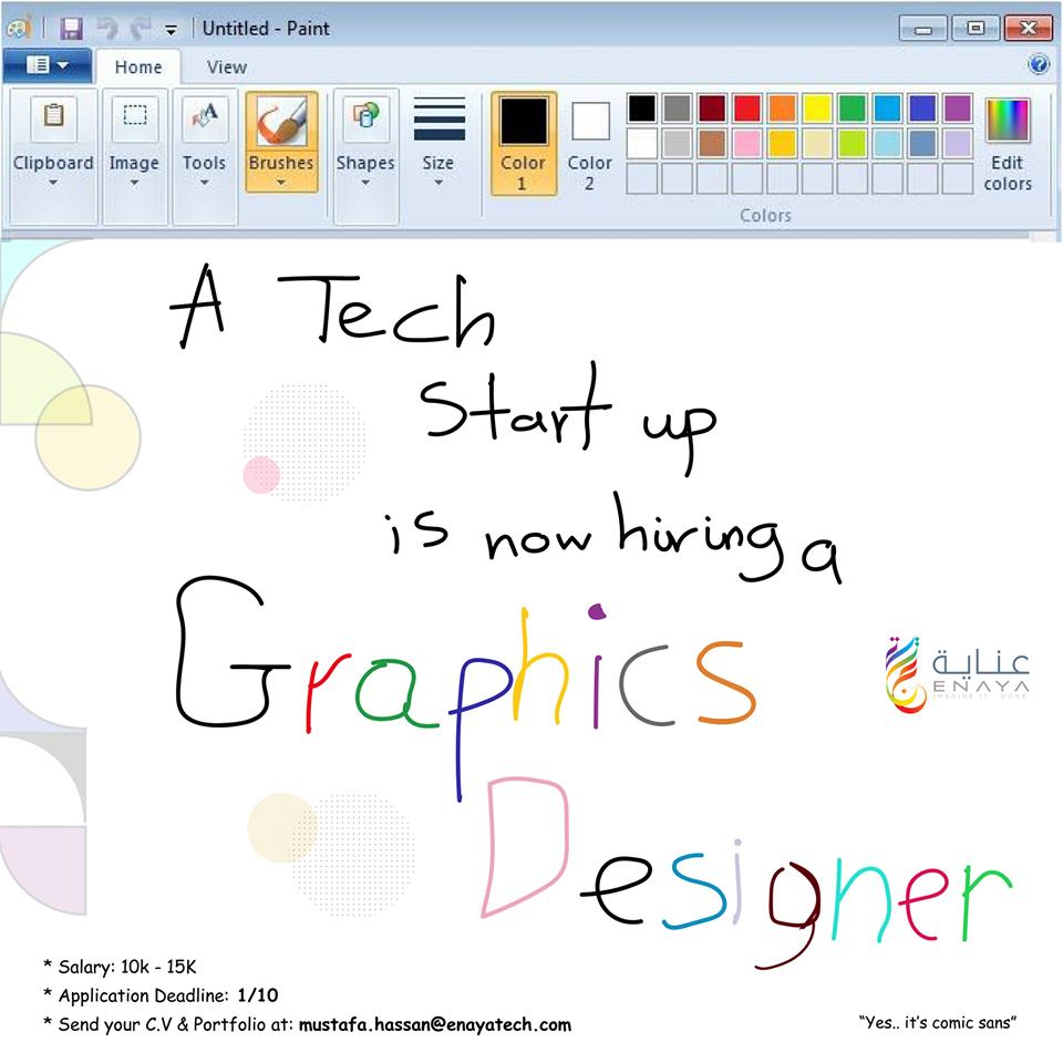 A Tech Startup located in Burri, Khartoum is looking for a Graphic Designer to work with a team of software developers and other creatives, to help shape and maintain the startup's brand and handle the visual elements regarding the software projects that come. <br>http://pic.twitter.com/R86H6VwUgy