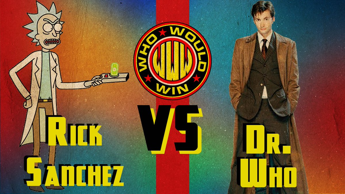 And in 2 days in the next episode of #WhoWouldWin...  It's the ultimate battle of space and time when #RickSanchez from #RickAndMorty (@AlmightyRay) takes on the 10th #DoctorWho (@JamesGavsie) with guest judge @benniearthur   Who wins and how?  #whovian #adultswim @adultswim<br>http://pic.twitter.com/HucFaisEWv