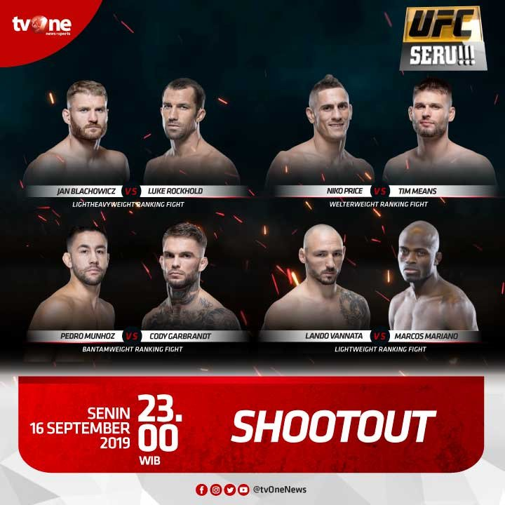 Saksikan pertandingan menarik para fighter UFC di program UFC Seru!!!: Shootout.Senin, 16 September 2019 jam 23.00 hanya di tvOne & streaming tvOne connect, android http://bit.ly/2EMxVdm  & ios http://apple.co/2CPK6U3 #UFCSeru #Shootout