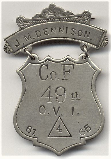 Just added to #JustaJoy.com - This original Civil War Shield Badge awarded to James M. Dennison of the 49th Ohio Volunteer Infantry ~ CO.F ~ 4th CORP <br>http://pic.twitter.com/03RC7jwzS2