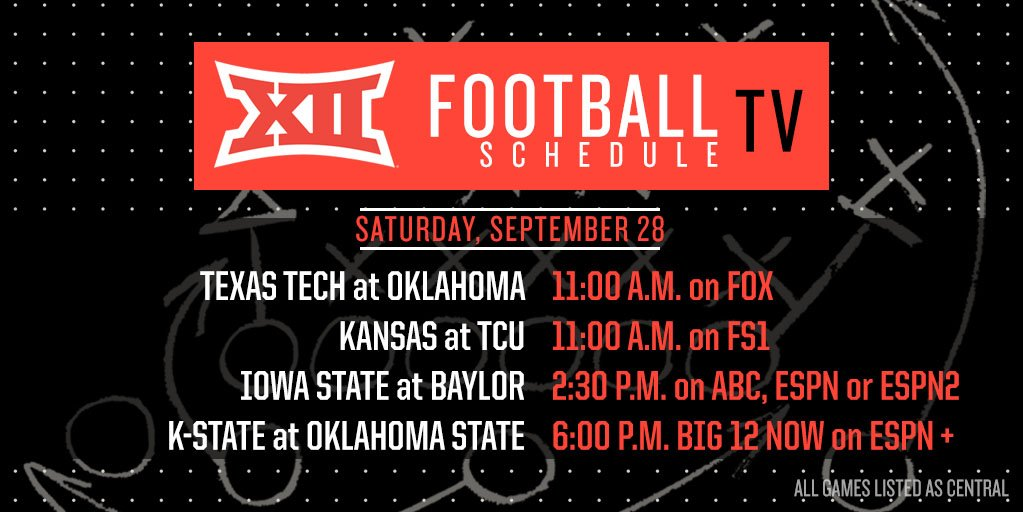 Game Times, Channels Released For Week 5 Big 12 Games