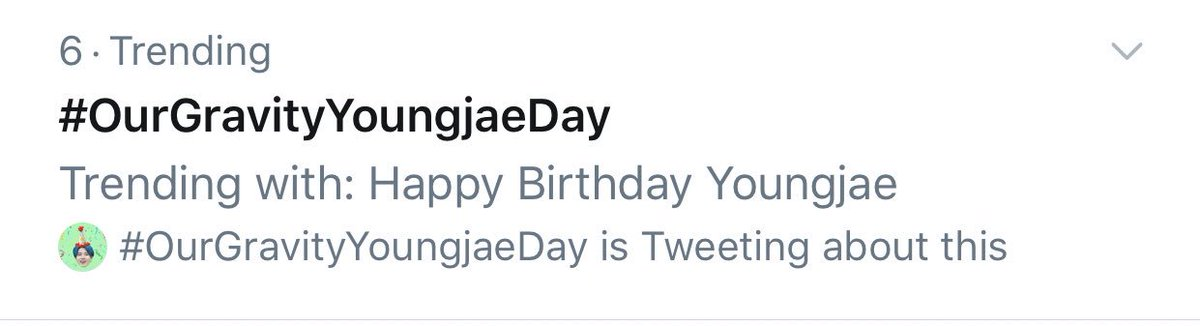 #OurGravityYoungjaeDay is trending at #6 in USA   @GOT7Official #GOT7  #갓세븐 <br>http://pic.twitter.com/yCqySvBemT