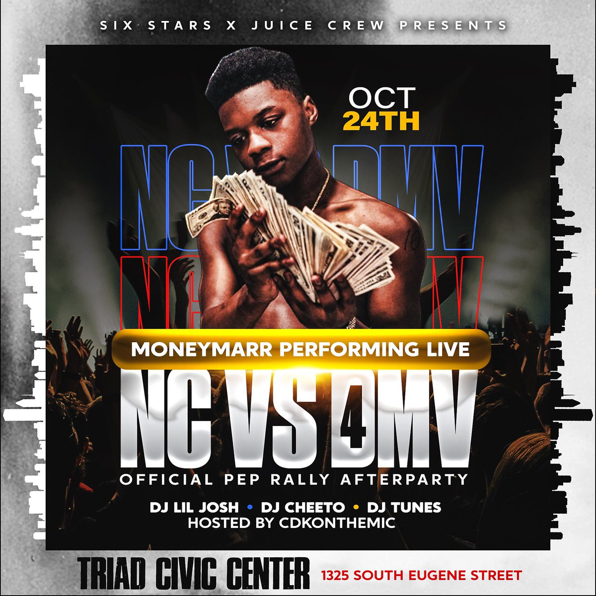BIGGEST PEP RALLY  AFTERPARTY EVER  Six Stars Presents...  NC VS DMV 4  Shuttles PROVIDED  Moneymarr from the DMV representing the DMV   Who will represent NC?   RT help a college DMV student   #ncat #uncg   http:// Sixstarsent.com/events     <br>http://pic.twitter.com/QNqMUic4O6