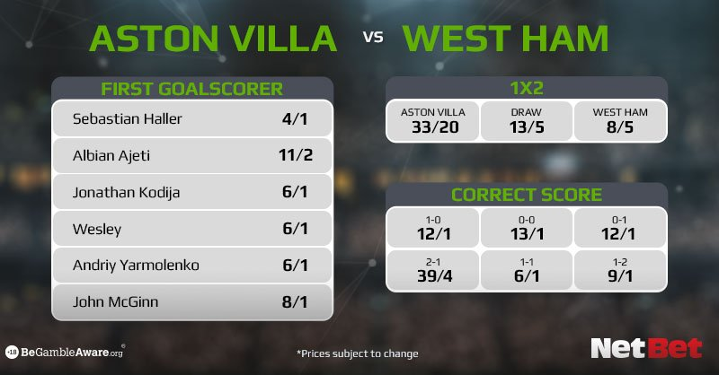 Latest odds ahead of Aston Villa vs West Ham which kicks off at 8   Full betting market available below    http:// nbet.co/2qd      18+ | T&Cs apply  #ASTWHU<br>http://pic.twitter.com/rWQuzENurg