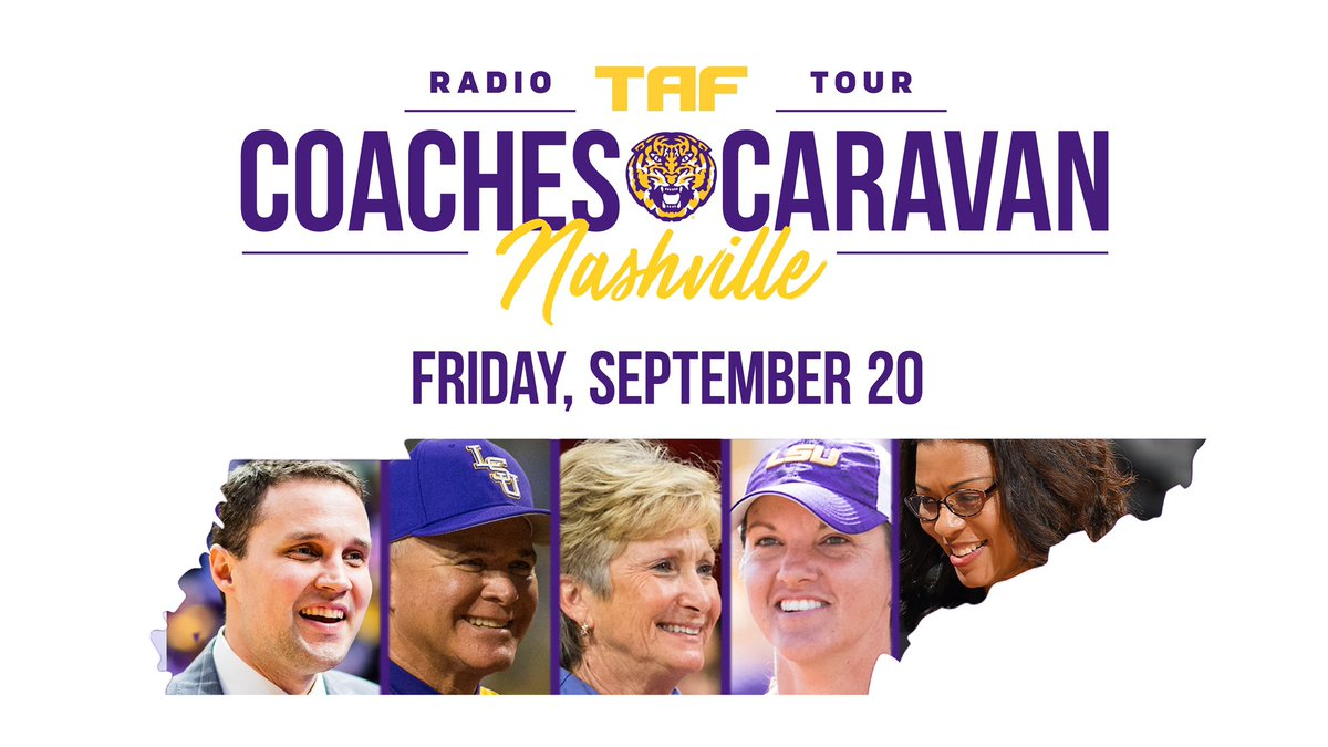The @lsutaf Coaches Caravan will make a tour stop on Friday at the Redneck Riviera in Nashville with @wwadelsu, D-D Breaux, @BethTorina, Paul Mainieri and @lsunikkifargas! lsul.su/2lWW8nY