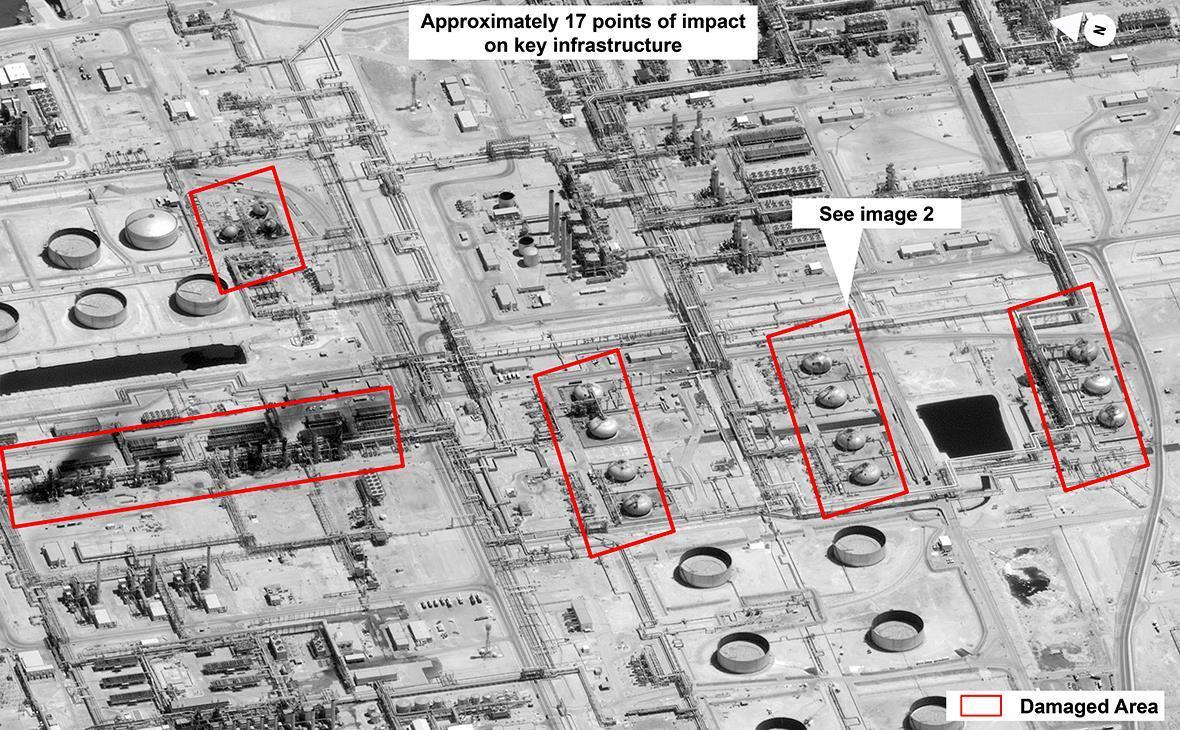 Снимок с космоса НПЗ в Абкайке после атаки дронов.