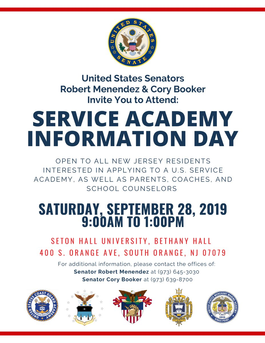 Interested in attending one of our prestigious service academies? Dont miss your chance to learn more about the application process with @SenatorMenendez and @SenBooker on Sept. 28.