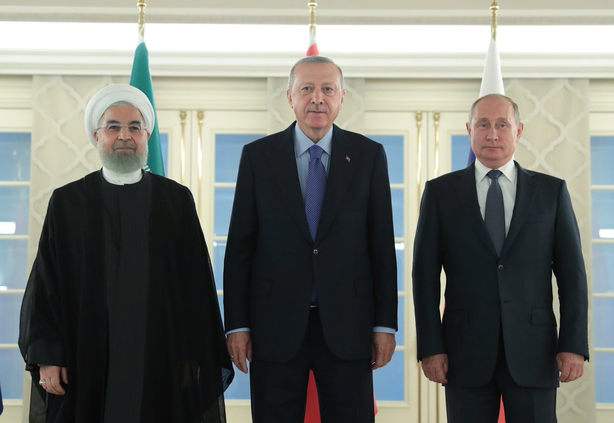 President @RTErdogan meets with President Vladimir Putin of the Russian Federation and President Hassan Rouhani of Iran as part of the Trilateral Summit on Syria at Çankaya Presidential Palace. <br>http://pic.twitter.com/uiV7VvNrpM
