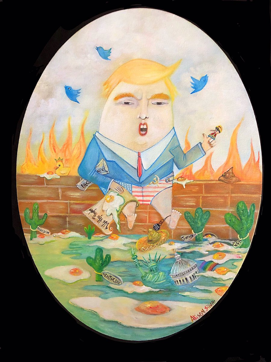 #trumptydumpty   Upon this wall 'twas perched so high The Trickster, the Fool, and Puppet of lies.  How far this will go We do not know While Decisions above wreak Havoc below.    #artforsale DM for details  #art #alisonsilvaartist  #trump #TrumpLies  #trumptanic #Impeach<br>http://pic.twitter.com/QwaqHpPZ4U