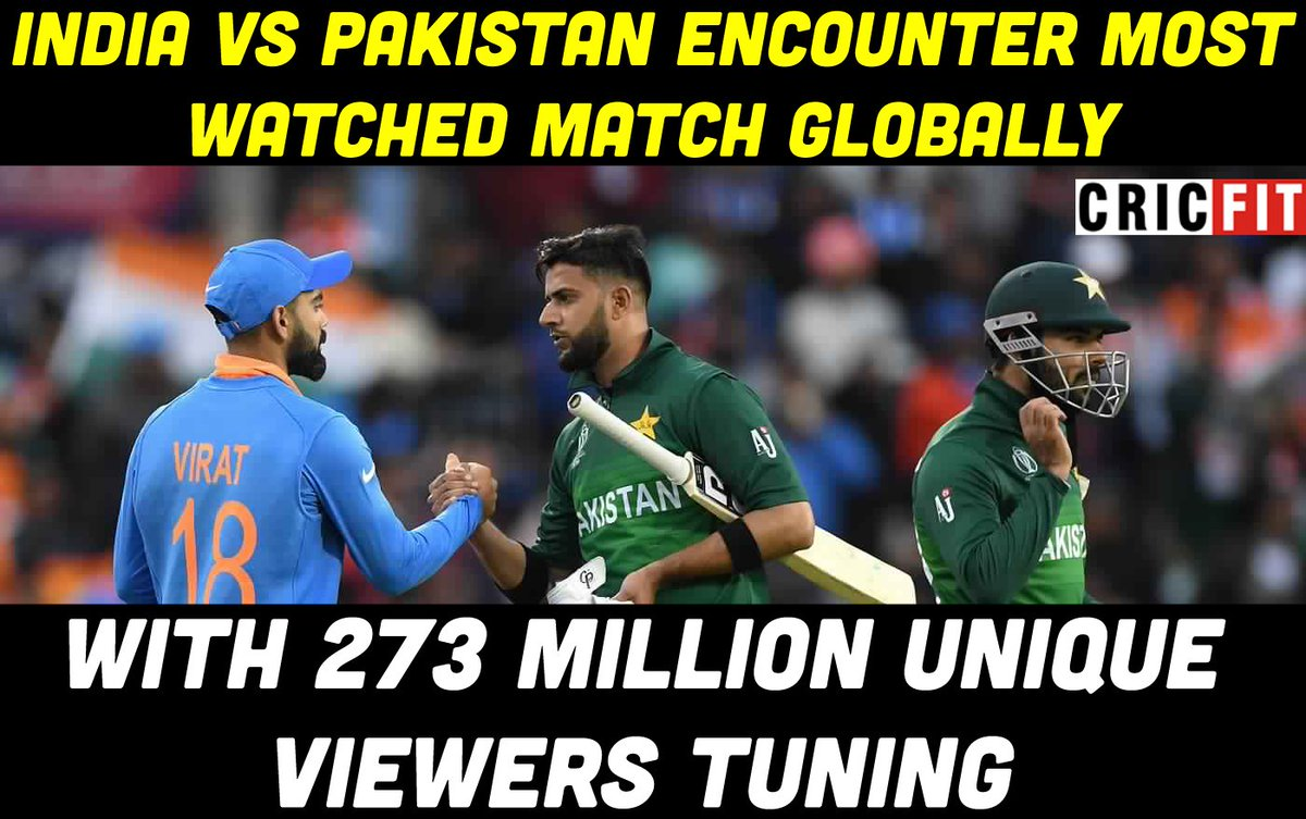 The most watched match globally was #INDvPAK #CWC19