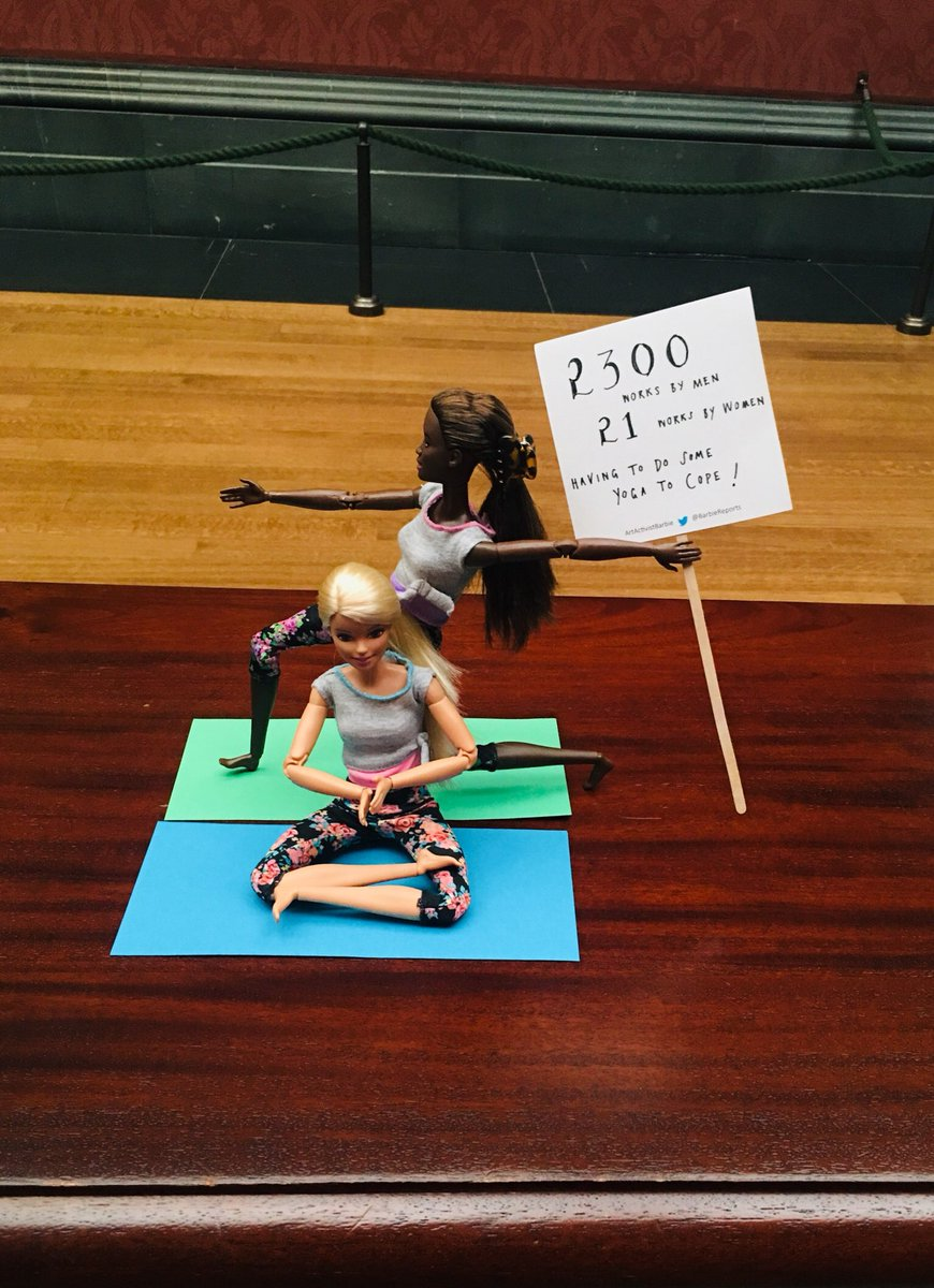 With 2300 works by men and only 21 by women in the Patriarchal Palace of Painting aka #NationalGallery #London, we had to turn this gallery bench into a yoga studio just to help us cope with the shocking stats! @trishgreenhalgh