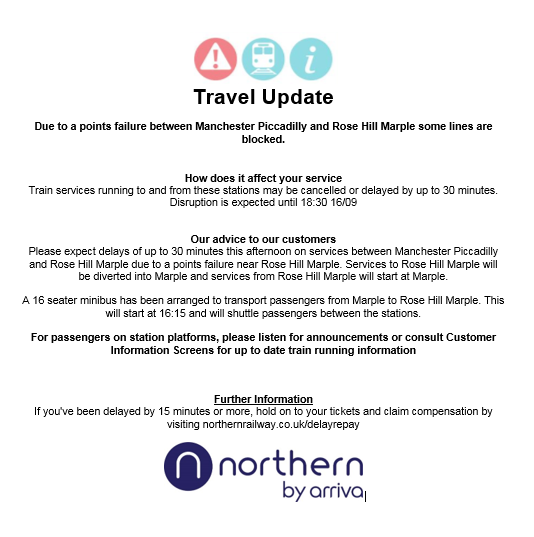RT @northernassist: TRAVEL UPDATE: A points failure #ManchesterPiccadilly - #RoseHillMarple https://t.co/I73ybI5dxi