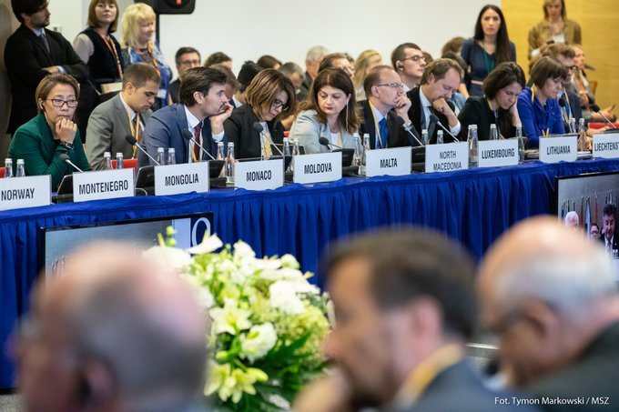 """FM #Czaputowicz attends @OSCE #HDIM2019 in Warsaw: """"The seat of @osce_odihr in Warsaw is a symbolic recognition of our country's pioneership with regard to restoring freedom, respect for human rights and democratic order in Europe."""" Read more: gov.pl/web/diplomacy/…"""